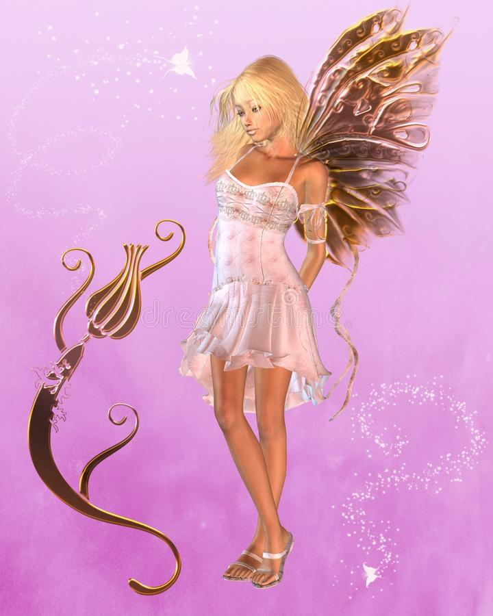 Download Pink Fairy With Magical Background Stock Illustration - Image: 13949766