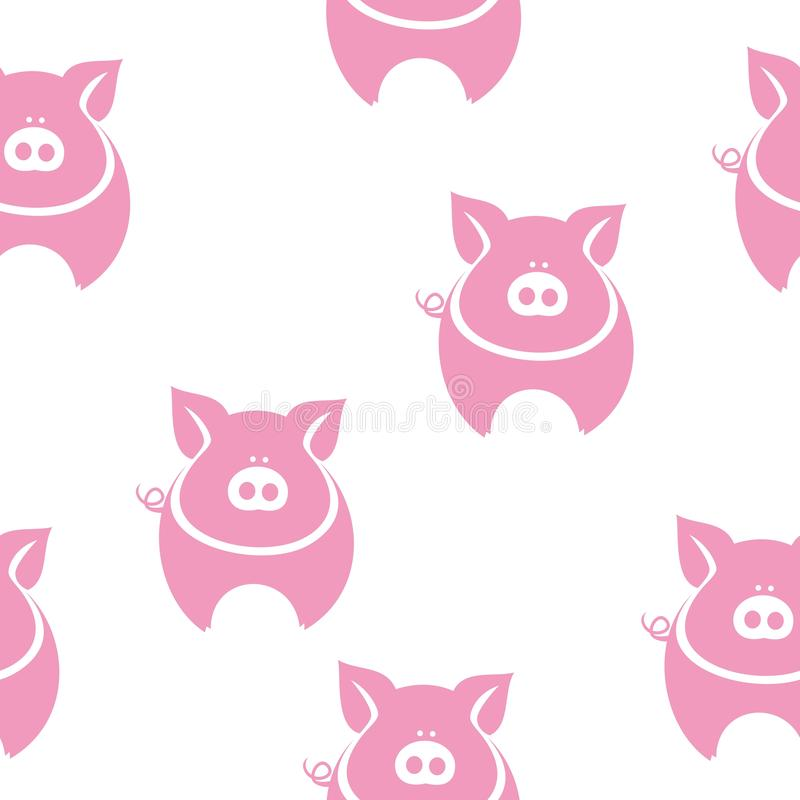 Pink fat pig silhouette pattern royalty free illustration