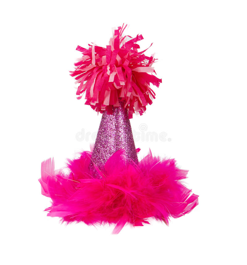 Pink Feather Birthday Party Hat. A sparkly pink birthday party hat with feathers and a pom pon royalty free stock images