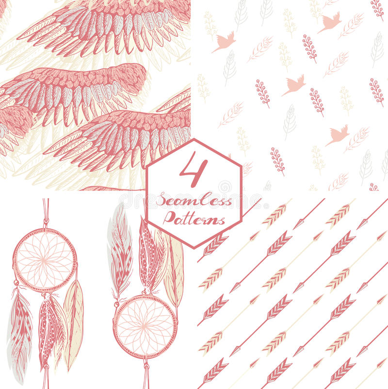 Pink feather vector illustration