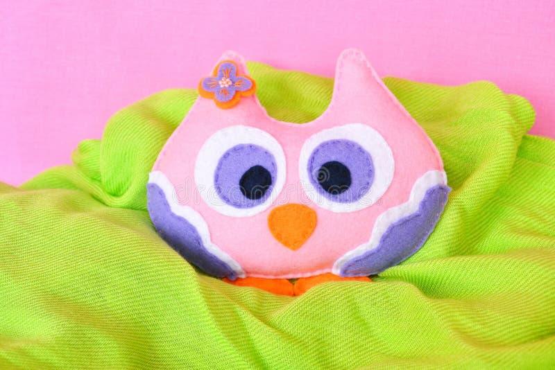 Pink felt owl, children& x27;s toy. Felt toy. Felt children& x27;s toy. Soft baby toy photo. Soft toy. Felt soft toy idea. Handmade toy. Needlework toy. Toy royalty free stock photos