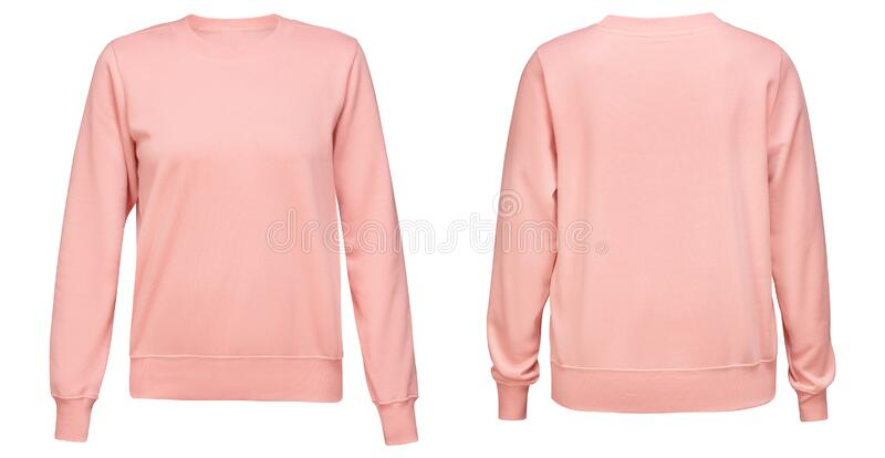 Pink female sweatshirt with long sleeve mockup for your design isolated on white background. Template pullover front and. Back side view stock image