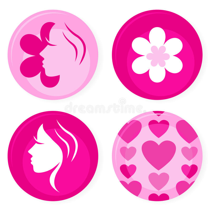 Pink female vector badges or icons stock illustration