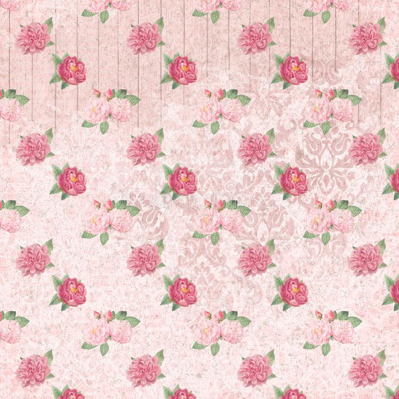 Shabby Chic Background Collage Paper - Pink Roses - Romantic - Feminine. Pink, feminine collage comprised of repeating pattern of vintage roses on a pink royalty free illustration