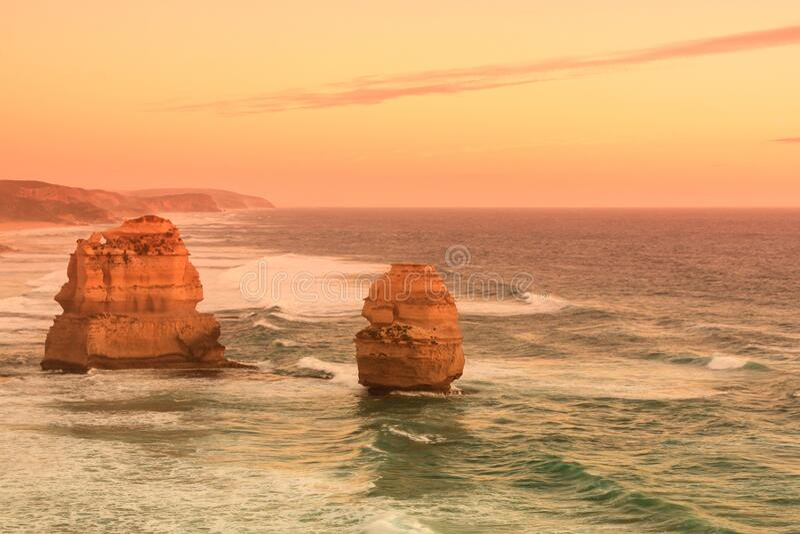 Pink filter, Twelve Apostles Sea Rocks on the sunset near Great Ocean Road , Port Campbell National Park, Australia.  stock photography
