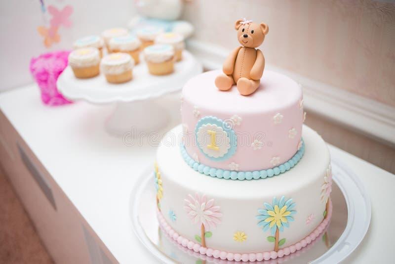Pink First Year Birthday Cake royalty free stock photo