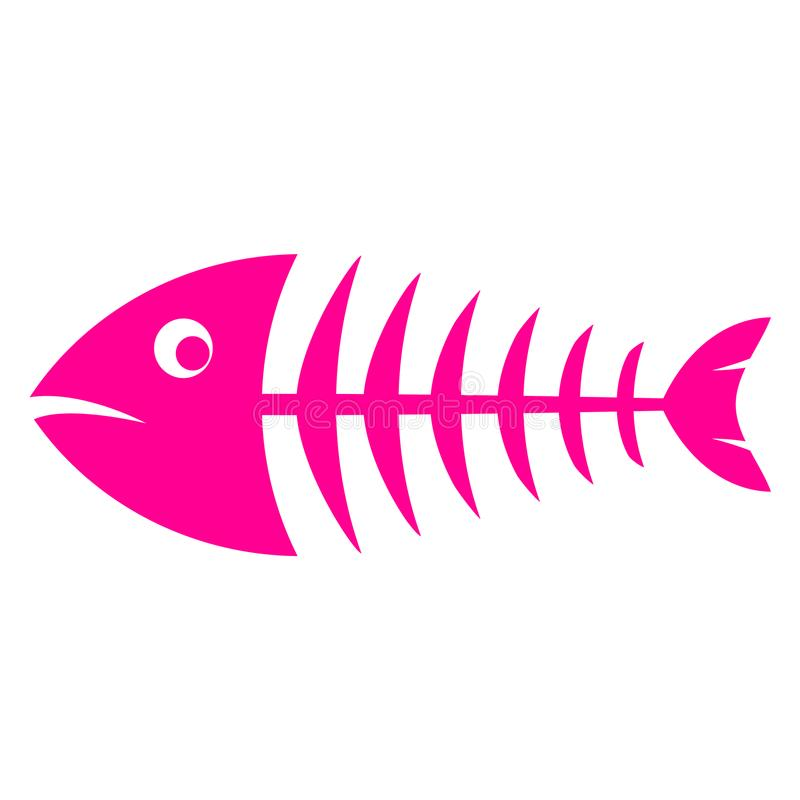 Pink fishbone vector icon stock illustration