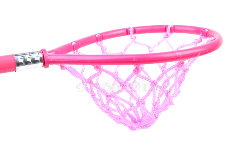 Pink fishing net. Isolated over white background royalty free stock photo