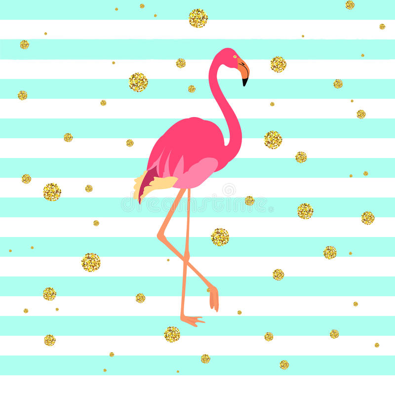 Pink flamingo bird vector illustration