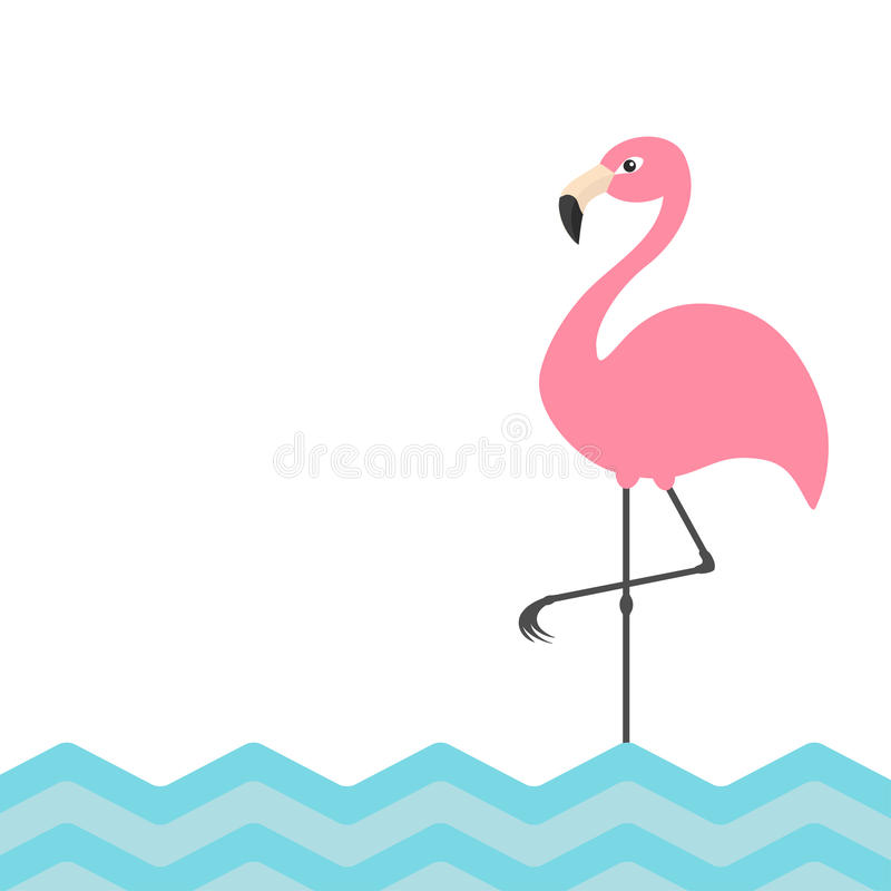 Pink flamingo. Blue sea ocean water zigzag wave. Exotic tropical bird. Zoo animal collection. Cute cartoon character. Decoration e stock illustration
