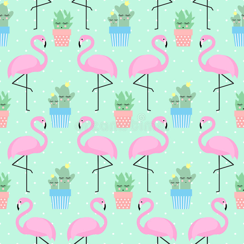 Pink flamingo with cactus stock illustration