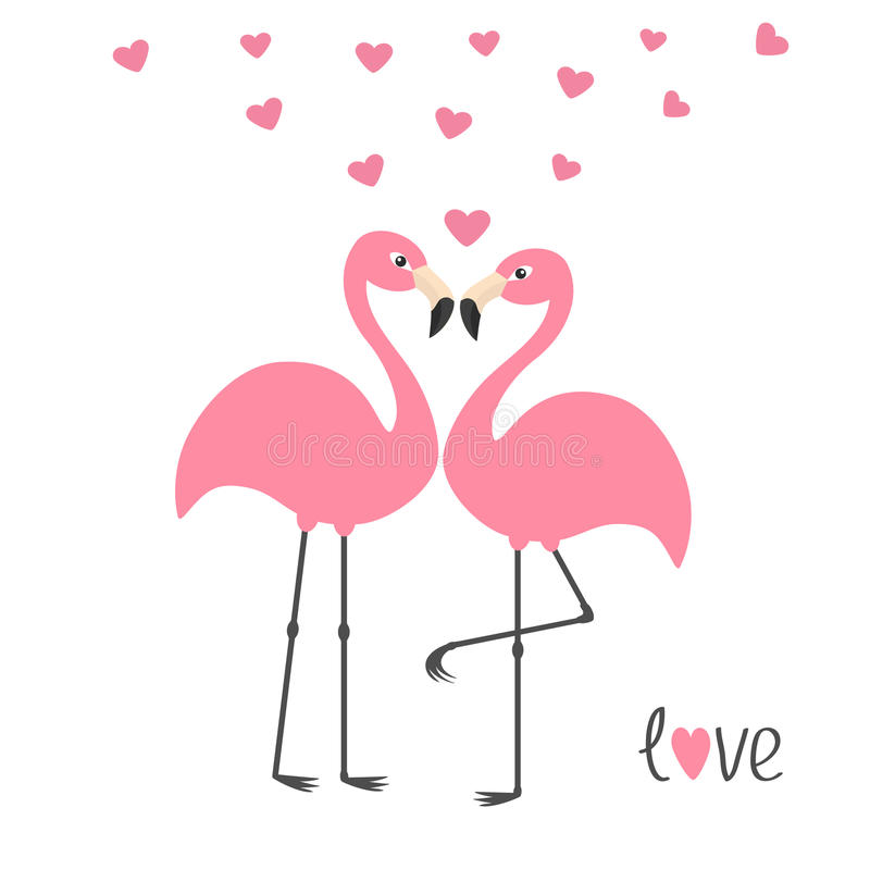 Pink flamingo couple and hearts. Word love. Exotic tropical bird. Zoo animal collection. Cute cartoon character. Greeting card. Fl. At design. White background royalty free illustration