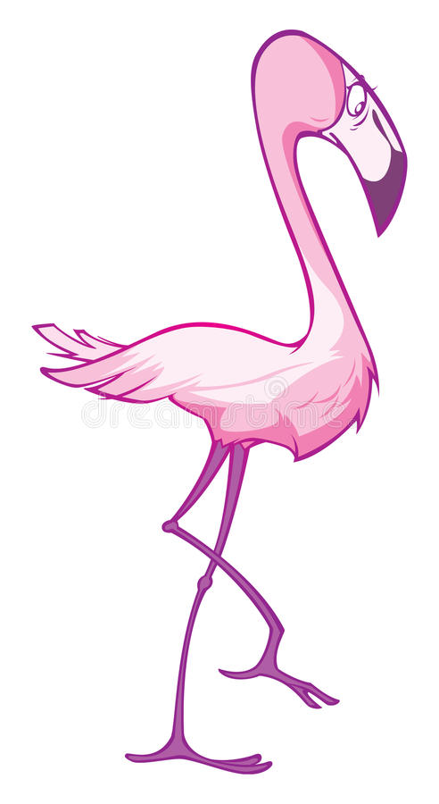A Pink flamingo cute cartoon royalty free stock photos