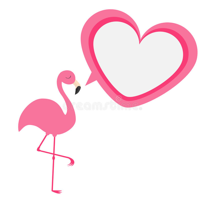 Pink flamingo. Exotic tropical bird. Zoo animal collection. Heart frame talking bubble. Cute cartoon character. Decoration element. Flat design. White royalty free illustration