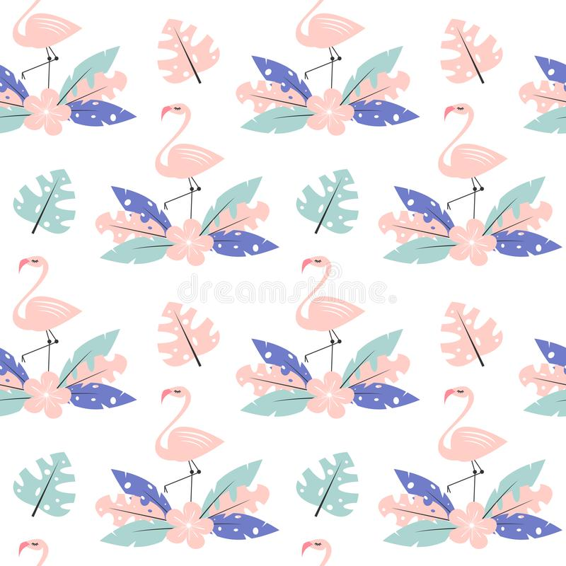 Cute pink flamingo with exotic tropical leaves and flower seamless vector pattern background illustration stock illustration