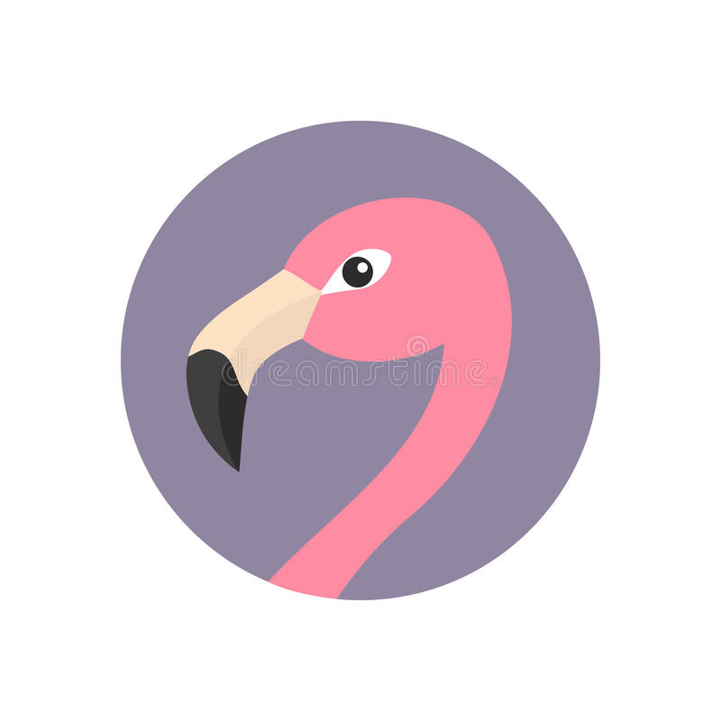 Free Pink Flamingo Head Face With Long Neck. Round Circle Icon. Exotic Tropical Bird. Zoo Animal Collection. Cute Cartoon Character. De Royalty Free Stock Images - 94220129