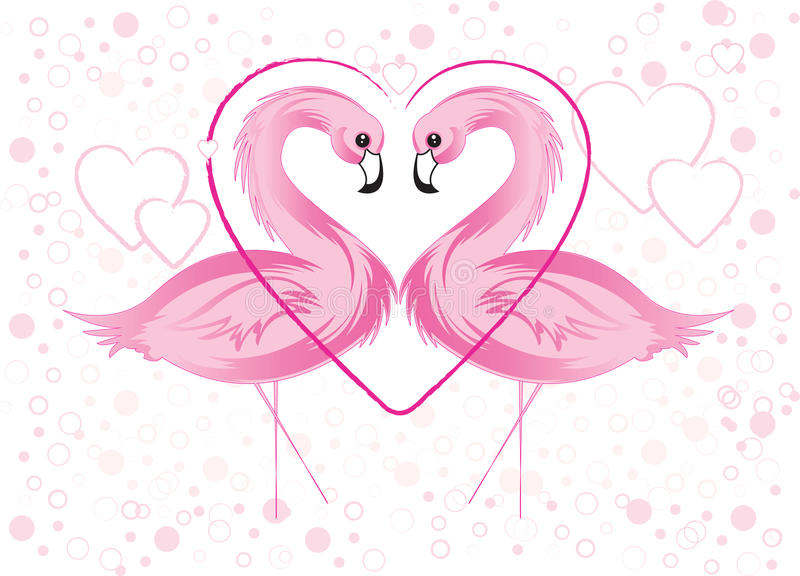 Pink Flamingo and Hearts stock illustration
