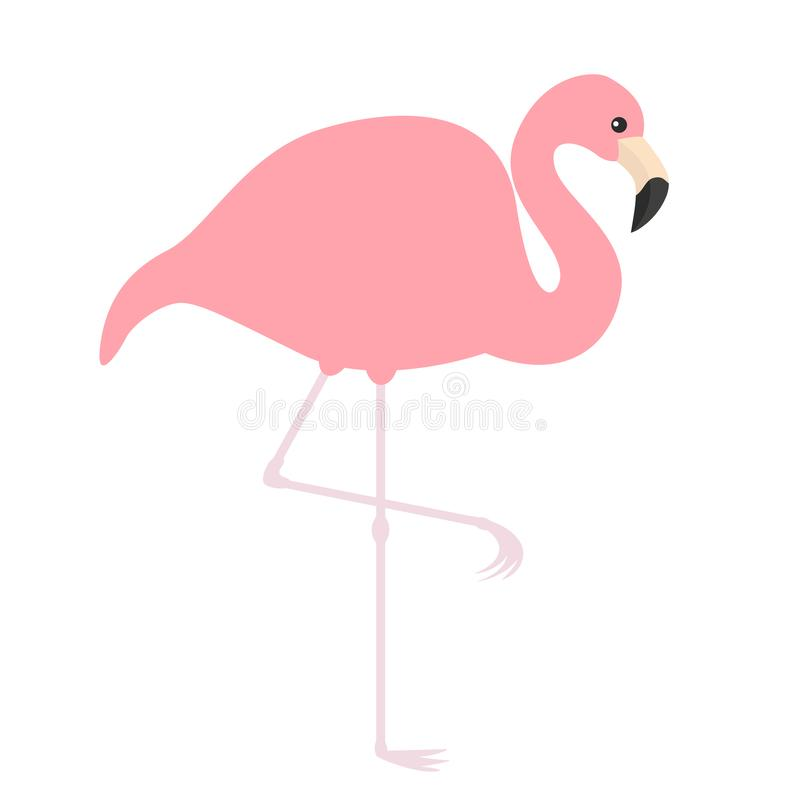 Pink flamingo icon. Exotic tropical bird. Zoo animal collection. Cute cartoon character. One leg. Decoration element. Flat design. royalty free illustration