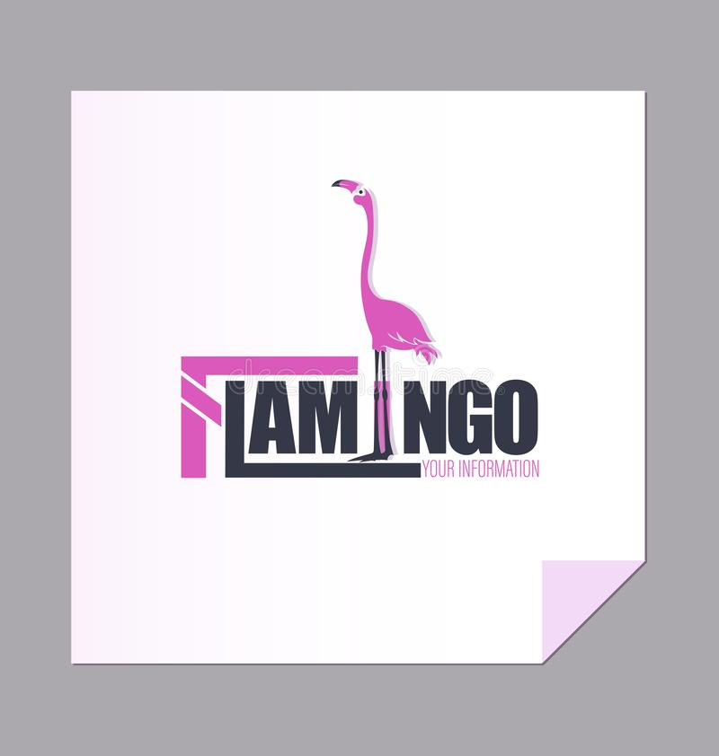 Pink flamingo and the inscription with a large letter F. vector illustration