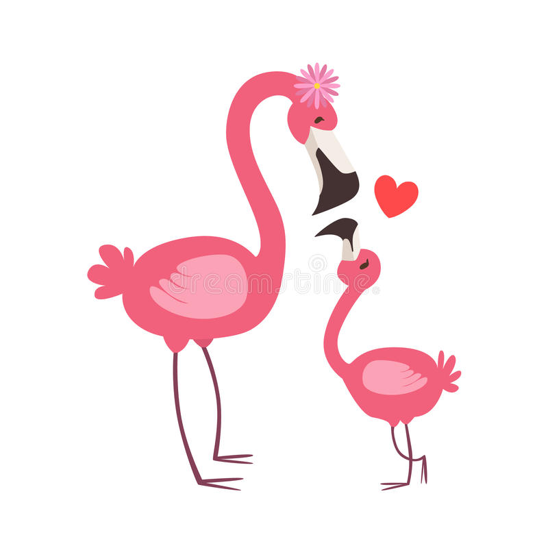 Pink Flamingo Mom With Flower Animal Parent And Its Baby Calf Parenthood Themed Colorful Illustration With Cartoon Fauna. Characters. Smiling Zoo Wildlife stock illustration