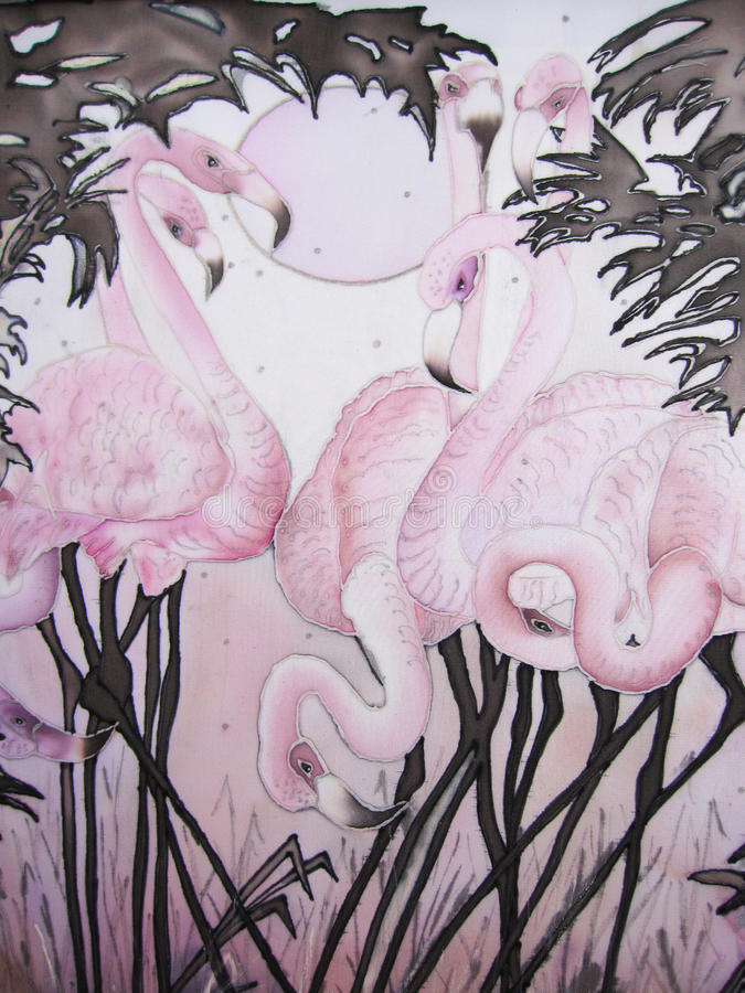 Pink flamingo and moon with tropical trees painting stock illustration