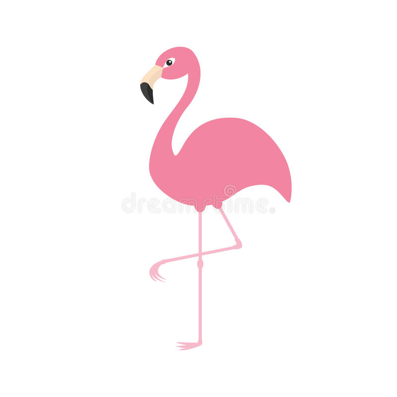 Pink flamingo on one leg. Exotic tropical bird. Zoo animal collection. Cute cartoon. Character. Decoration element. Flat design. White background. Isolated royalty free illustration