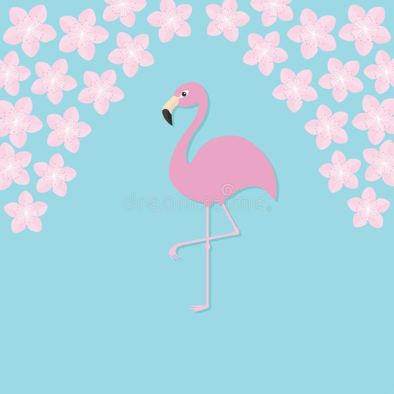 Pink flamingo on one leg. Exotic tropical bird. Zoo animal collection. Cute cartoon character. Sakura flowers Cherry blossom Decoration element. Flat design stock illustration