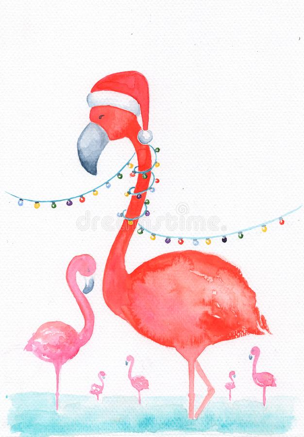 Pink flamingo in Santa hat watercolor illustration. Merry hristmas and Happy New Year card template with text place. Handdrawn flamingo bird with winter royalty free illustration