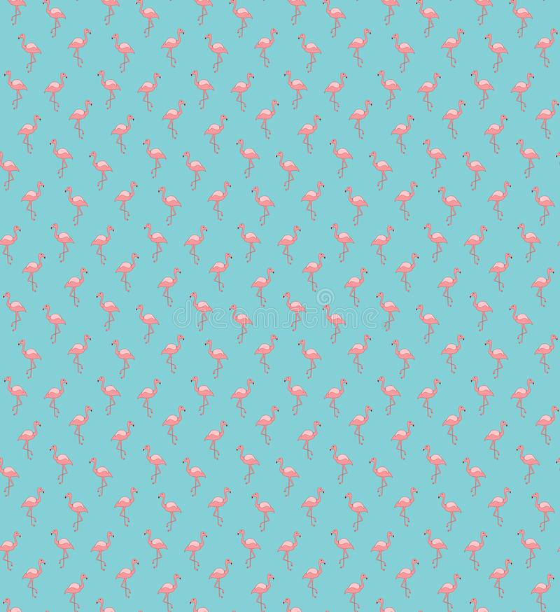 Pink flamingo seamless pattern on blue background. royalty free illustration