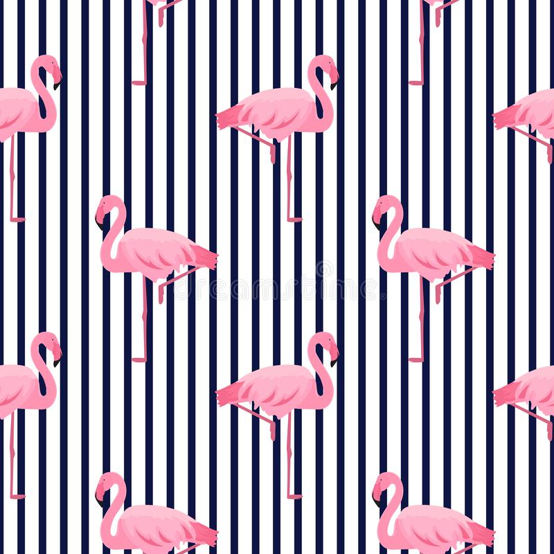 Pink flamingo seamless striped pattern. Summer tropical design.  royalty free illustration