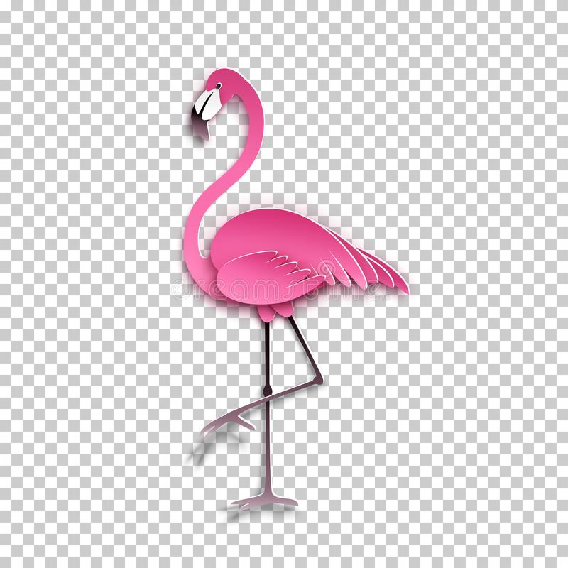 Pink flamingo standing on one leg. African exotic bird, cool sticker for birthday cards, party invitations, for tropical design. Element. Summer decoration vector illustration