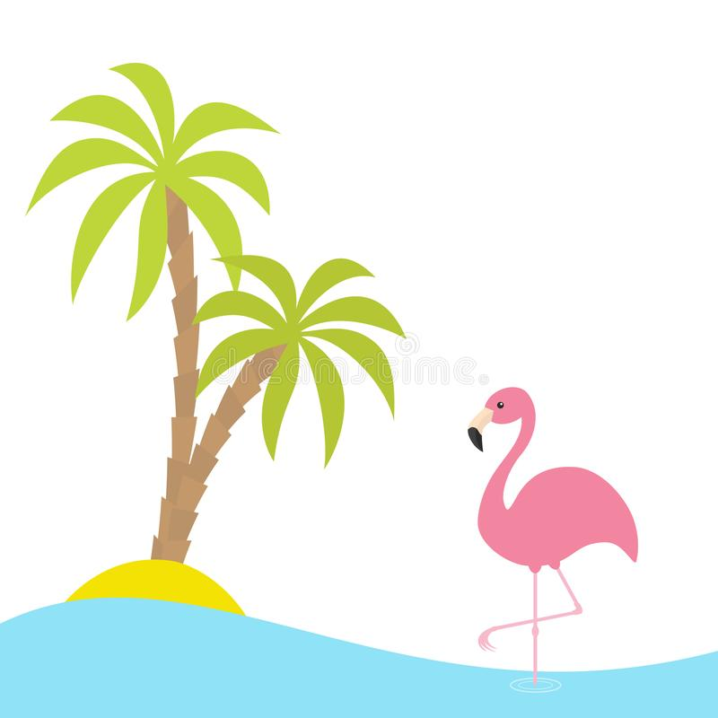 Pink flamingo standing on one leg. Two palms tree, island, ocean, see water. Exotic tropical bird. Zoo animal collection. Cute car. Toon character. Flat design vector illustration