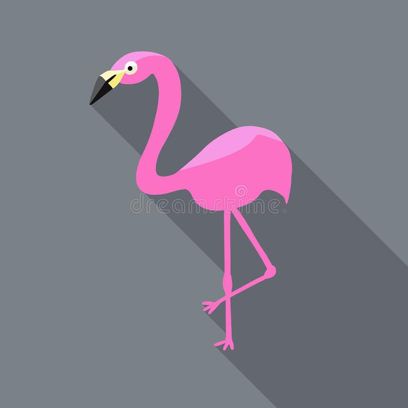 Pink flamingo vector in flat design website icon style with long shadows royalty free illustration