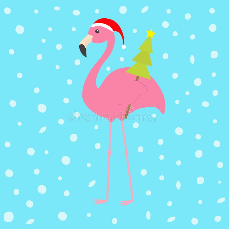 Pink flamingo with wing holding christmas fir tree. Santa Claus hat. Exotic tropical bird. Zoo animal collection. Cute cartoon cha. Racter. Decoration element royalty free illustration