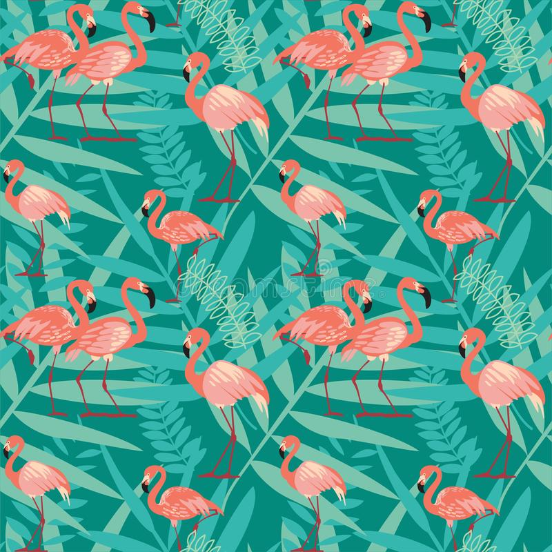 Pink flamingos, exotic birds, tropical palm leaves stock illustration