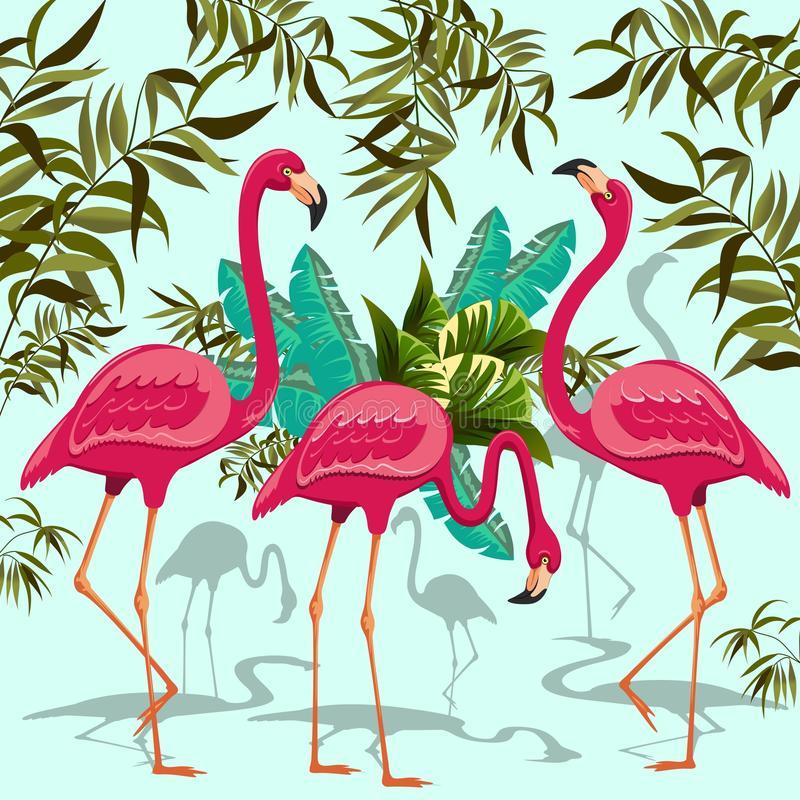 Pink flamingos exotic birds stock vector illustration of for American tropical mural