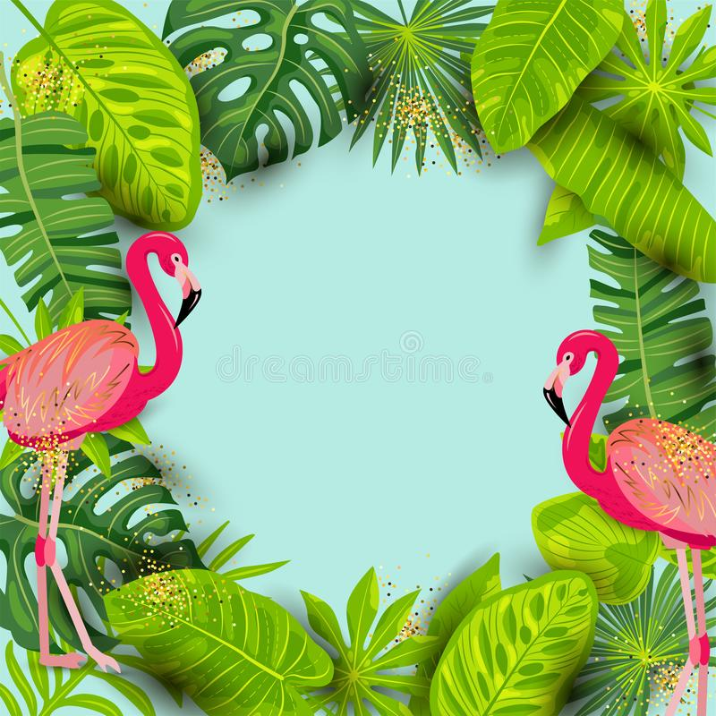 Pink flamingos and exotic palm leaves. Summer background vector illustration. Place for your text. Seasonal template for vacation, poster, banner, flyer vector illustration