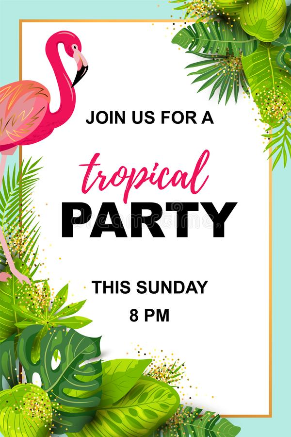 Pink flamingos and exotic palm leaves. Tropical party vector illustration. Place for your text. Seasonal template for vacation, poster, banner, flyer stock illustration