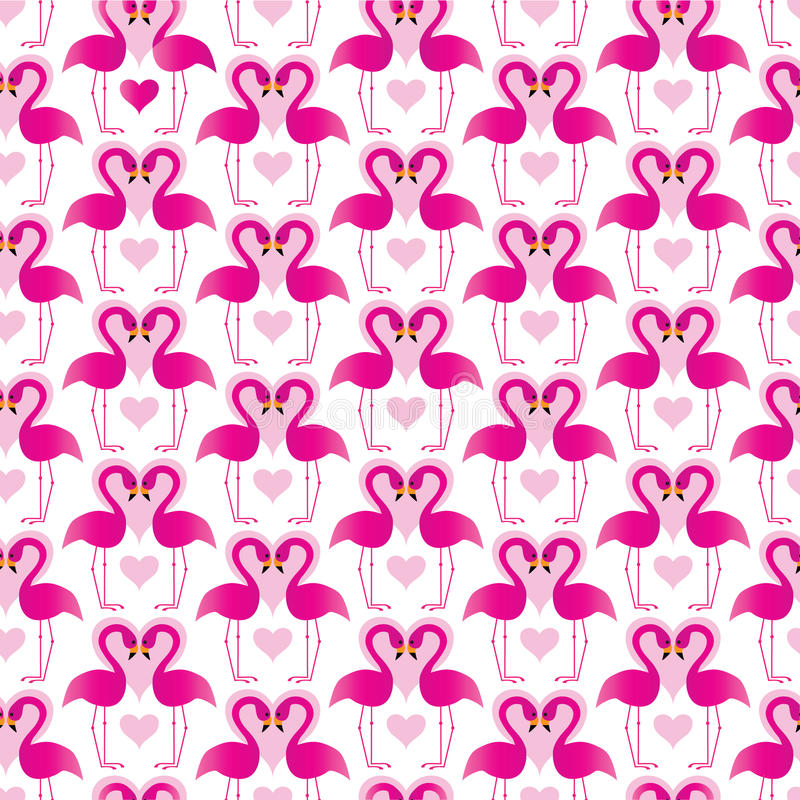 Pink flamingos with hearts royalty free illustration