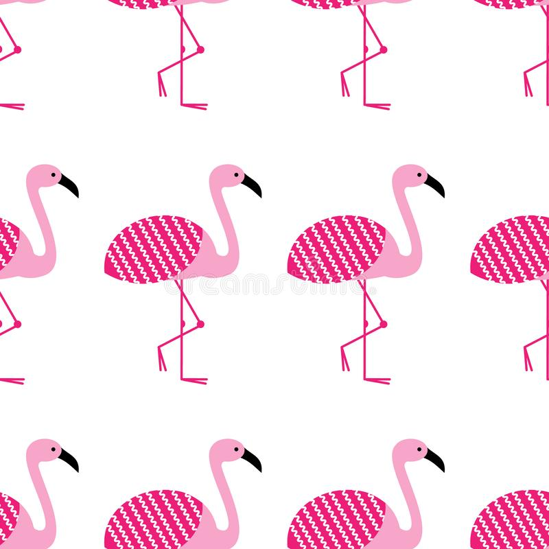 Pink flamingos seamless pattern on white background. Standing posture. Zoo bird park. Vector design illustration. royalty free illustration