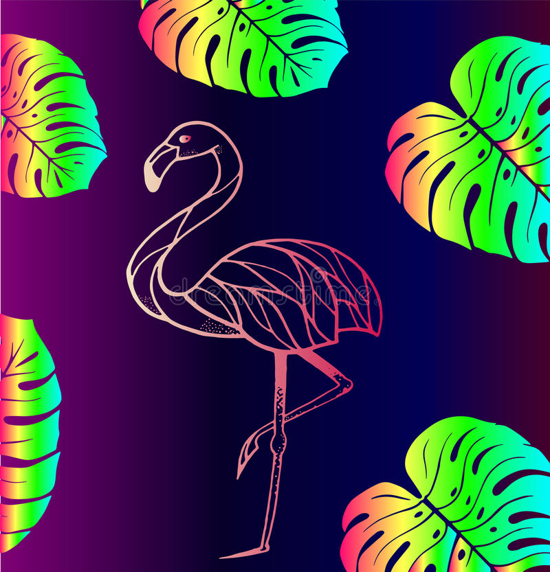 Pink flamingos and tropical leaves. Pink flamingos with tropical leaves - trend of the season. Bright gradient background royalty free illustration