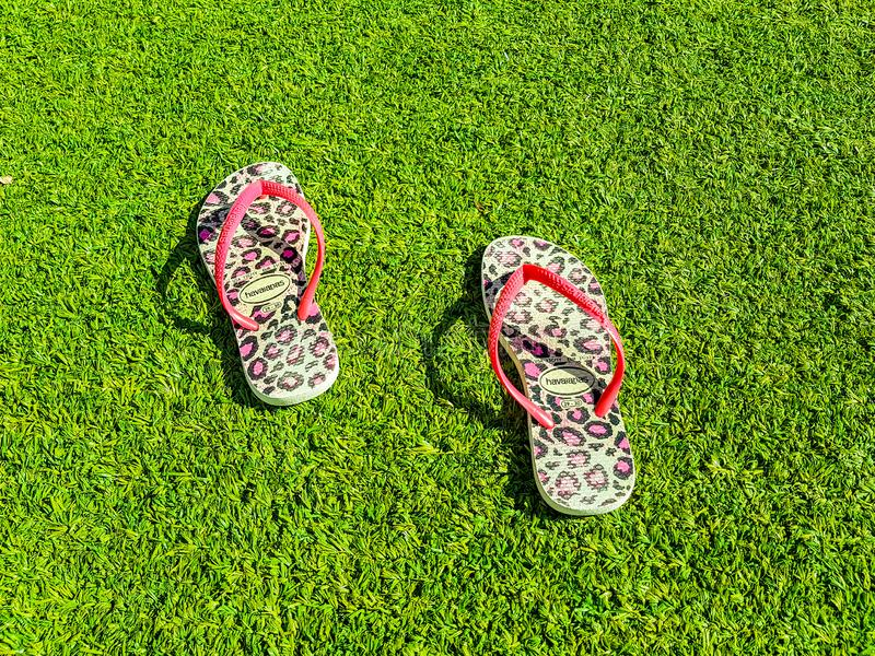 Pink flip-flops with coloured motifs on the lawn stock image