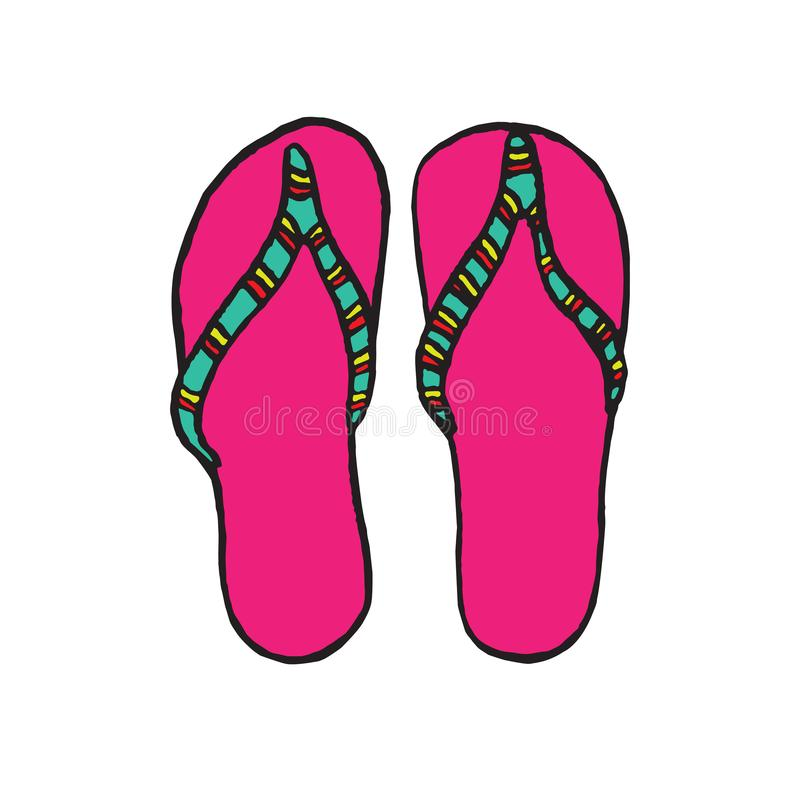 Pink flip-flops with green striped band, isolated hand drawn outline doodle, sketch in pop art style royalty free illustration