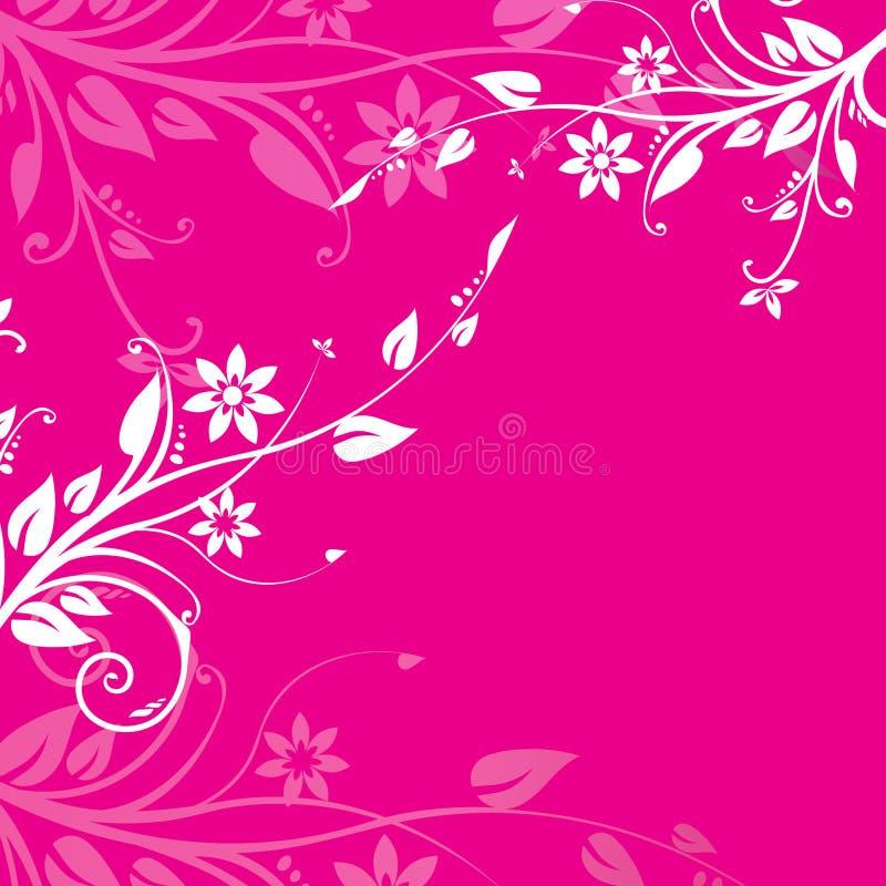 Pink floral background. White and pink floral motives on dark pink background royalty free illustration