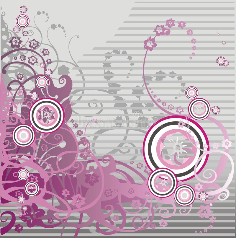 Pink floral background with curl vector illustration