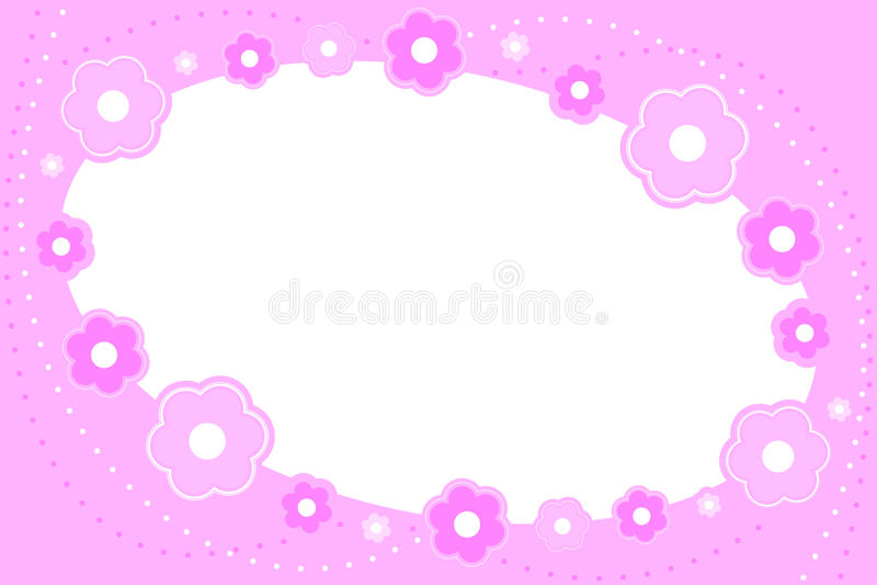 Pink floral frame stock illustration