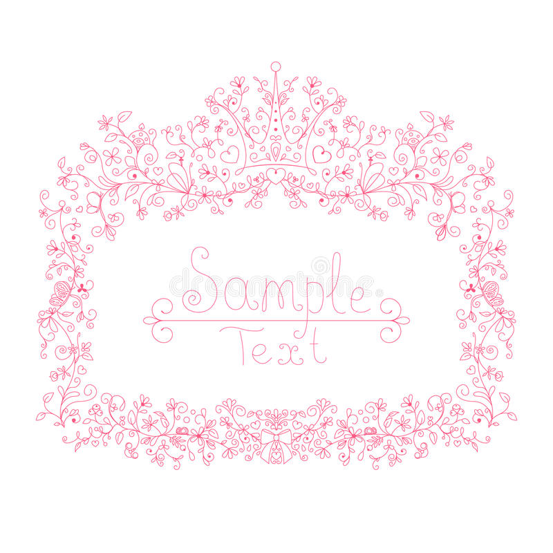 Pink floral frames for little princess, glamour girl and woman. stock image