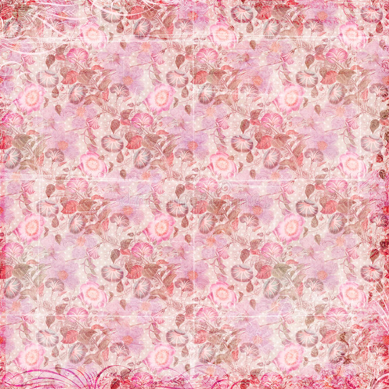 Pink floral grungy background royalty free illustration