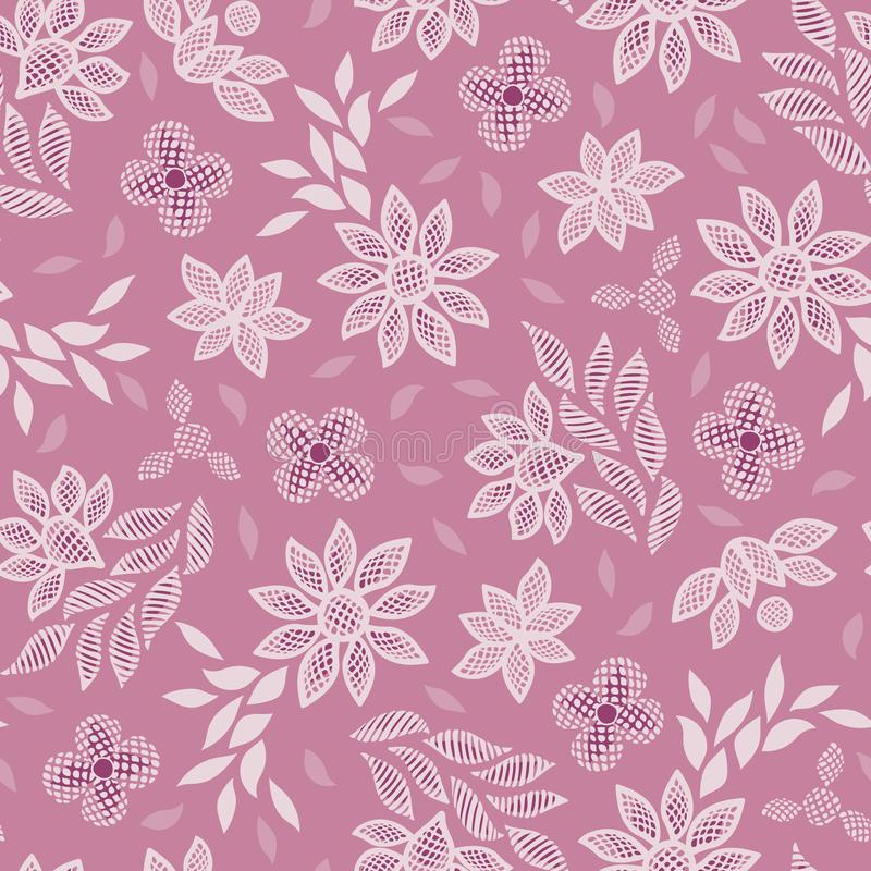 Pink floral lace embroidery seamless vector pattern background royalty free illustration