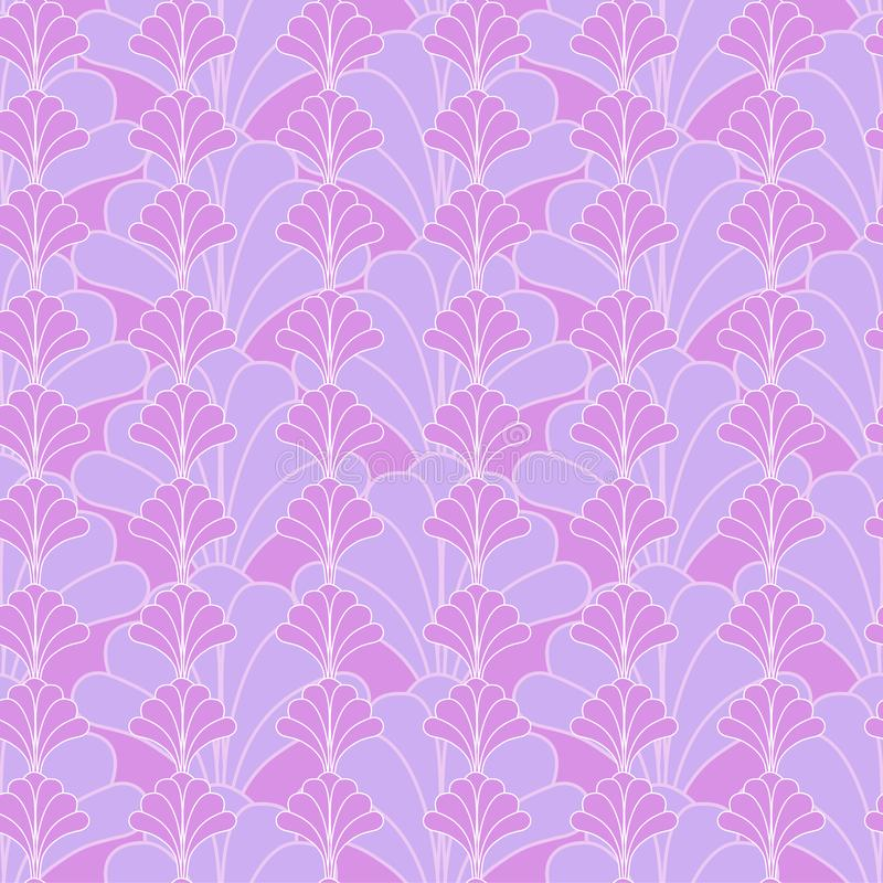 Pink Floral Seamless Fabric Pattern Design. In Art Deco Style royalty free illustration